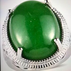 Genuine 18.50 ctw Burmese Jade Ring in Silver